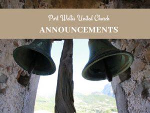 Announcements  Sep 9 – 16, 2018