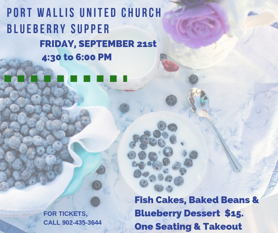 blueberry supper in Dartmouth NS