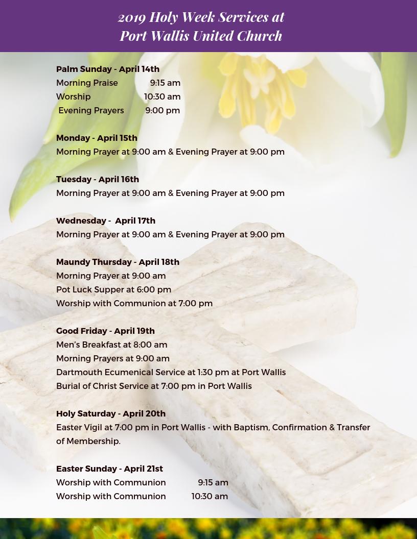 Holy-Week Services at Port Wallis United Church